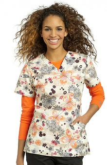 White Cross Women's Crossover V-Neck Butterfly Print Scrub Top