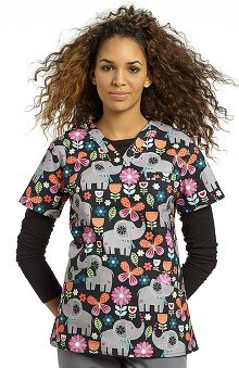 Clearance White Cross Women's Crossover V-Neck Elephant Print Scrub Top