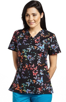 Clearance White Cross Women's Crossover V-Neck Butterfly Print Scrub Top