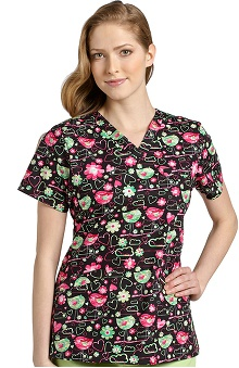 Clearance White Cross Women's Crossover V-Neck Heart Print Scrub Top