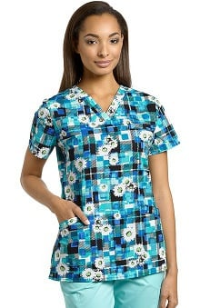 White Cross Women's Crossover V-Neck Floral Print Scrub Top