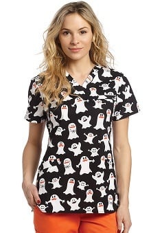 Clearance White Cross Women's Crossover V-Neck Halloween Print Scrub Top