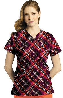 White Cross Women's Crossover V-neck Plaid Print Scrub Top