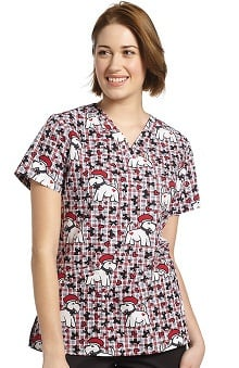 Clearance White Cross Women's Crossover V-Neck Dog Print Scrub Top