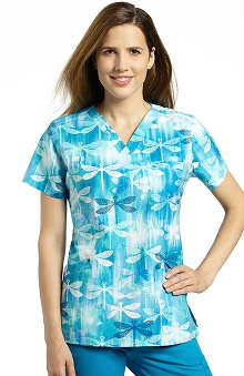 Clearance White Cross Women's V-Neck Dragonfly Print Scrub Top