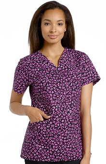 Clearance White Cross Women's Crossover V-Neck Print Scrub Top