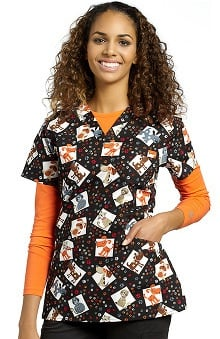 White Cross Women's Crossover V-Neck Pet Print Scrub Top