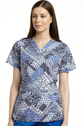Clearance White Cross Women's V-Neck Patchtastic Print Top