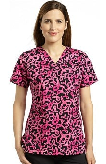 White Cross Women's Crossover V-Neck Ribbon Print Scrub Top