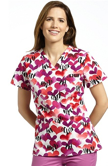 White Cross Women's V-Neck Animal Print Scrub Top