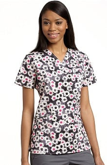 White Cross Women's V-Neck Sweet Daisy Print Top