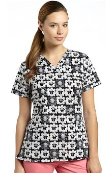 White Cross Women's V-Neck Sheep Print Scrub Top