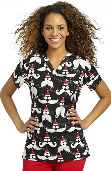 White Cross Women's Crossover V-Neck Santa Print Scrub Top