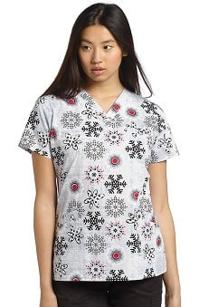 White Cross Women's Crossover V-Neck Snowflake Print Scrub Top