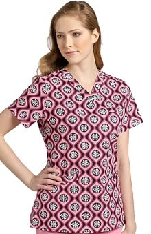 Clearance White Cross Women's Crossover V-Neck Abstract Print Scrub Top