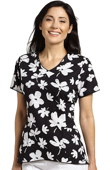 White Cross Women's Curved Hem V-Neck Floral Print Scrub Top
