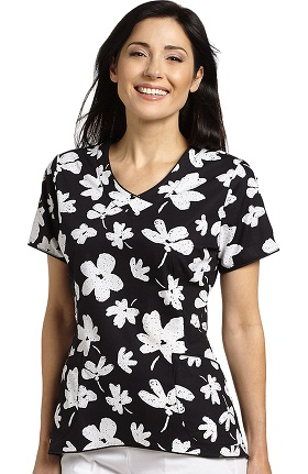 Clearance White Cross Women's Curved Hem V-Neck Floral Print Scrub Top
