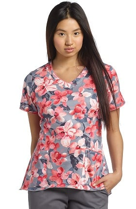 White Cross Women's V-Neck Curved Hem Floral Print Scrub Top