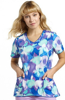 White Cross Women's Curved Hem V-Neck Abstract Print Scrub Top