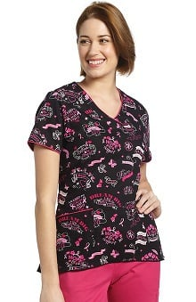 Clearance White Cross Women's V-Neck Curved Hem Breast Cancer Awareness Print Scrub Top