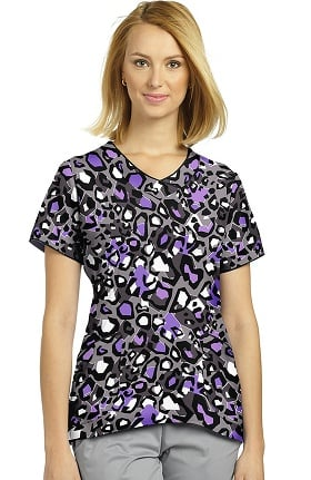 Clearance White Cross Women's V-Neck Curved Hem Animal Print Scrub Top