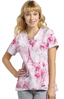 White Cross Women's Curved Hem V-Neck Floral Paris Print Scrub Top