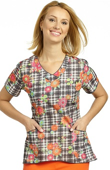 White Cross Women's Curved Hem V-Neck Floral Plaid Print Scrub Top