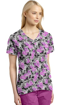 Clearance White Cross Women's Curved Bottom V-Neck Flower Print Scrub Top