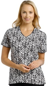 Clearance Marvella by White Cross Women's Curved Bottom V-Neck Chevron Print Scrub Top