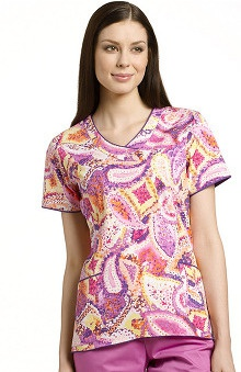 Clearance White Cross Women's Curved Bottom V-Neck Paisley Print Top