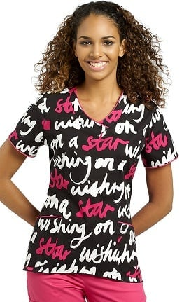 White Cross Women's V-Neck Star Print Scrub Top