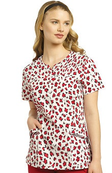 Clearance White Cross Women's Notch Neckline Animal Print Scrub Top