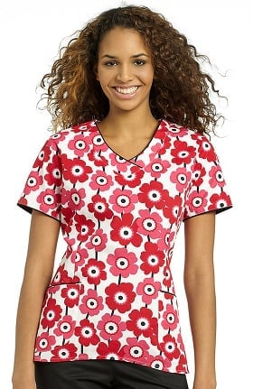 White Cross Women's Hi-Low V-Neck Floral Print Scrub Top