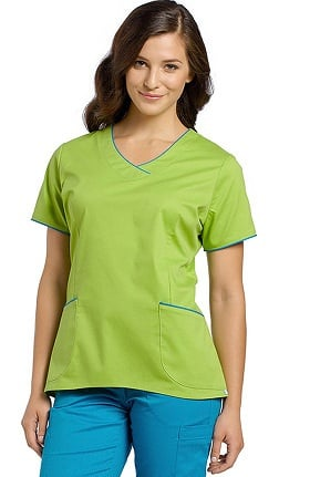 Allure by White Cross Women's Hi Low Color Trim V-Neck Scrub Top