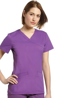 Allure by White Cross Women's Mock Wrap Knit Side Panel Solid Scrub Top