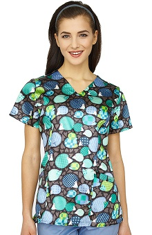 White Cross Women's V-Neck Hedgehog Print Scrub Top