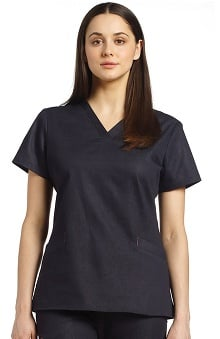 White Cross Women's V-Neck Denim Scrub Top
