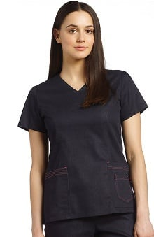 White Cross Women's V-Neck Layered Pocket Denim Scrub Top