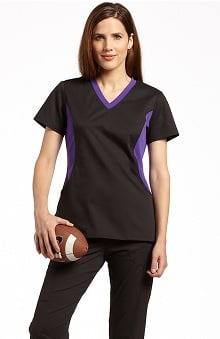Allure by White Cross Women's Stretch Side Football Team Colors Solid Scrub Top