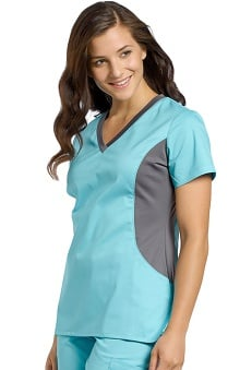 Allure by White Cross Women's V-Neck Curved Side Stretch Scrub Top