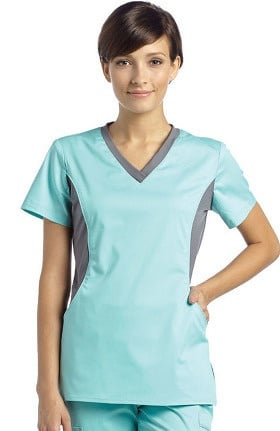 Allure by White Cross Women's Contrast Jersey Neck Solid Scrub Top