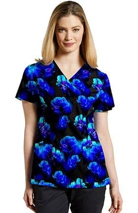 White Cross Women's Mock Wrap Floral Print Scrub Top