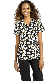 White Cross Women's Mock Wrap Butterfly Print Scrub Top