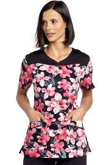 White Cross Women's Notch Neck Floral Print Scrub Top