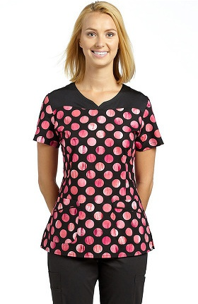 White Cross Women's Mock Wrap Dot Print Scrub Top