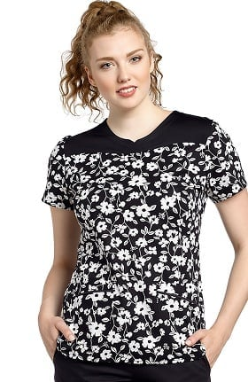 White Cross Women's Notch Neck Floral Print Scrub Top