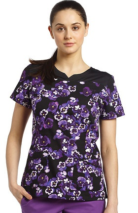 Clearance White Cross Women's Notch Neck Floral Print Scrub Top