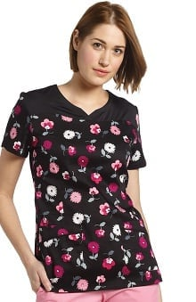Clearance White Cross Women's Notch Neck Floral Print Scrub Top