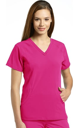 Marvella by White Cross Women's Stretch Side V-Neck Solid Scrub Top