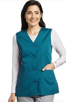White Cross Women's Button Front Solid Scrub Vest